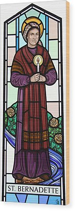 Wood Print featuring the glass art Saint Bernadette  by Gilroy Stained Glass