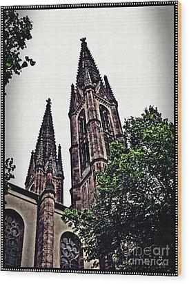 St Boniface Church Towers   Wood Print by Sarah Loft