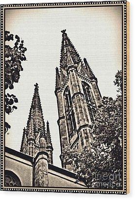 St Boniface Church Towers Sepia Wood Print by Sarah Loft