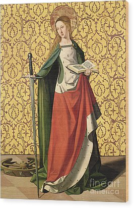 St. Catherine Of Alexandria Wood Print by Josse Lieferinxe