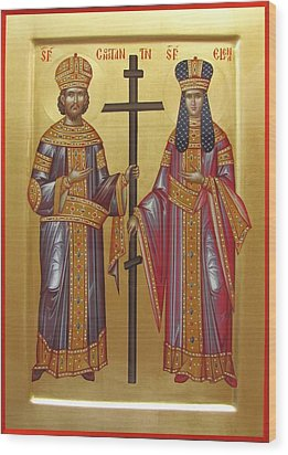 St Constantine The Great  And His Mother Helena Sfintii Imparati Constantin Si Elena Wood Print by Daniel Neculae