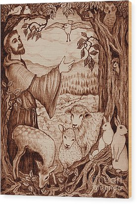 St. Francis Wood Print by Debra A Hitchcock