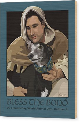 St. Francis With Greyhound Wood Print by Kris Hackleman