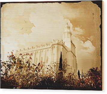St George Temple Roses Wood Print by La Rae  Roberts