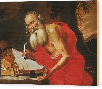 St. Jerome In The Wilderness Wood Print by Rebecca Poole