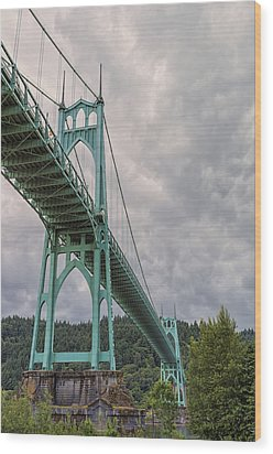 St. Johns Bridge Wood Print by Loree Johnson