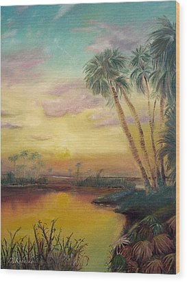 Wood Print featuring the painting St. Johns Sunset by Dawn Harrell