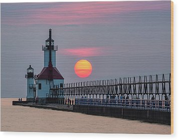 Wood Print featuring the photograph St. Joseph Lighthouse At Sunset by Adam Romanowicz