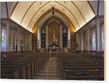 Wood Print featuring the photograph St. Josephs Catholic Church by Monte Stevens