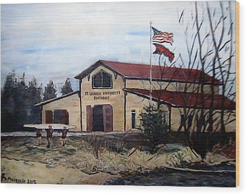 St. Lawrence Boathouse Wood Print by Denny Morreale