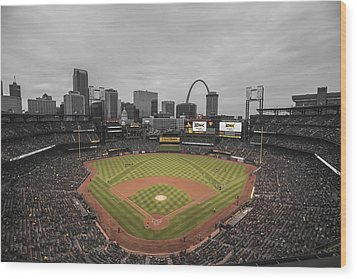St. Louis Cardinals Busch Stadium Creative 17 Wood Print by David Haskett