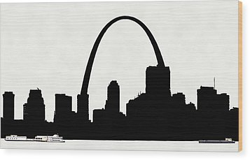 St Louis Silhouette With Boats 2 Wood Print