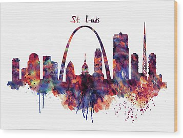 Wood Print featuring the digital art St Louis Skyline by Marian Voicu