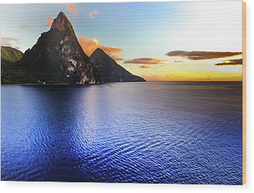 Wood Print featuring the photograph St. Lucia's Cobalt Blues by Karen Wiles