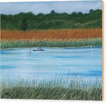 Wood Print featuring the pastel St. Marks Fishing by Jan Amiss