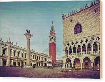 Wood Print featuring the photograph St. Mark's Square by Andrew Soundarajan