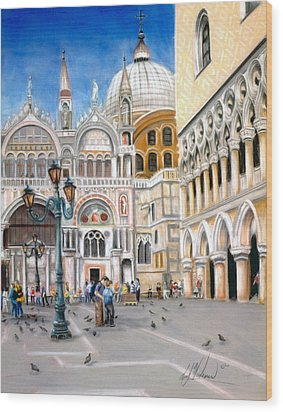 St. Marks Square Wood Print by Leah Wiedemer