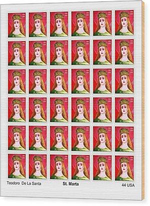 St Marta 36 Postage Stamps Wood Print by Teodoro De La Santa