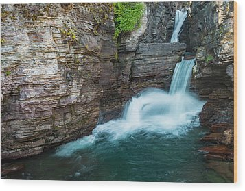 Wood Print featuring the photograph St. Mary Falls by Gary Lengyel
