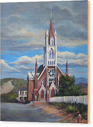 Wood Print featuring the painting St. Mary Of The Mountains by Donna Tucker