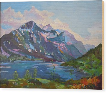 Wood Print featuring the painting St. Marys Lake Glacier National Park by Francine Frank