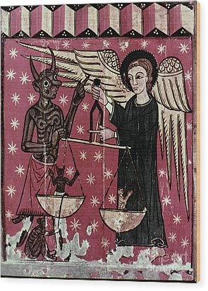 St. Michael Weighing Souls Wood Print by Granger