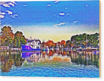 St. Michael's Marina Wood Print by Bill Cannon
