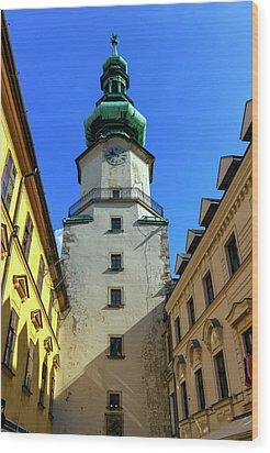 St Michael's Tower In The Old City, Bratislava, Slovakia, Europe Wood Print by Elenarts - Elena Duvernay photo