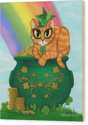 Wood Print featuring the painting St. Paddy's Day Cat - Orange Tabby by Carrie Hawks