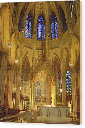 St Patricks Cathedral New York Wood Print by Vijay Sharon Govender