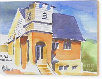 Wood Print featuring the painting St Paul Lutheran 3 by Kip DeVore