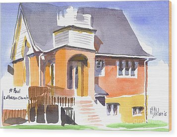 Wood Print featuring the painting St Paul Lutheran In Watercolor 2 by Kip DeVore