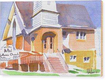 Wood Print featuring the painting St. Paul Lutheran Ironton Missouri by Kip DeVore