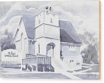 Wood Print featuring the painting St. Paul Lutheran Church 2 by Kip DeVore