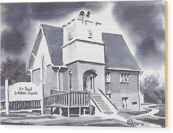 Wood Print featuring the painting St Paul Lutheran With Ink by Kip DeVore