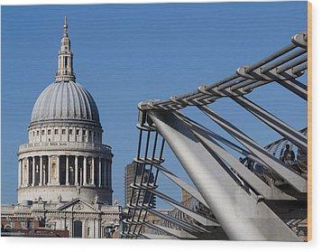 St Pauls Cathedral And The Millenium Bridge  Wood Print by David Pyatt