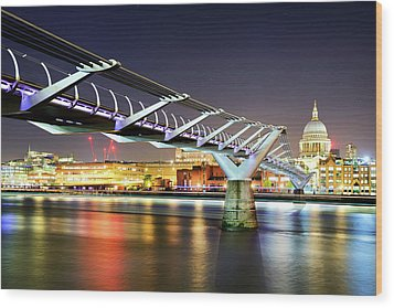 St Paul's Cathedral During Night From The Millennium Bridge Over River Thames, London, United Kingdom. Wood Print