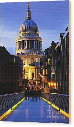 St. Paul's Cathedral From Millennium Bridge Wood Print by Elena Elisseeva