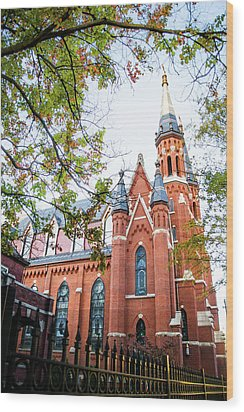 Wood Print featuring the photograph St Paul's Cathedral In Downtown Birmingham by Shelby Young