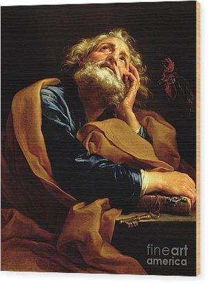 St Peter Wood Print by Pompeo Girolamo Batoni