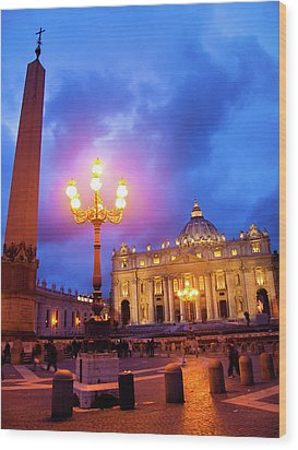 St. Peters Cathedral At Night Wood Print