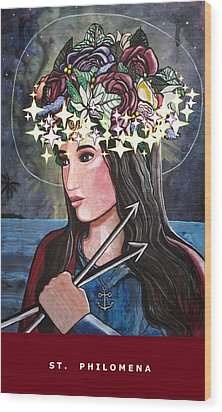 St. Philomena Wood Print by Mary Ellen Frazee
