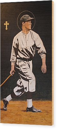 St. Sebastian Patron Of Athletes Wood Print by Ralph LeCompte