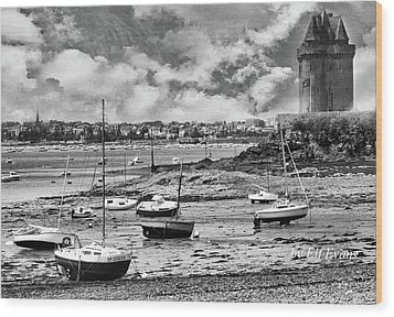 Wood Print featuring the photograph St. Servan Anse At Low Tide by Elf Evans