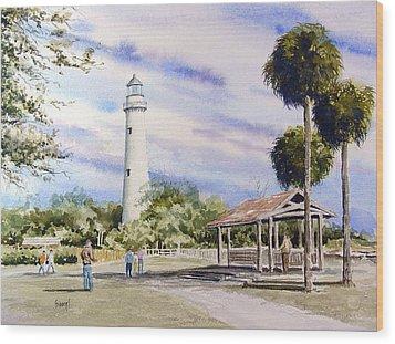 St. Simons Island Lighthouse Wood Print by Sam Sidders