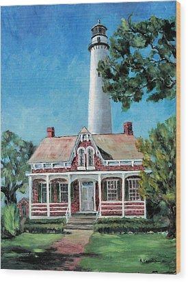 St. Simons Light Wood Print by Albert Fendig