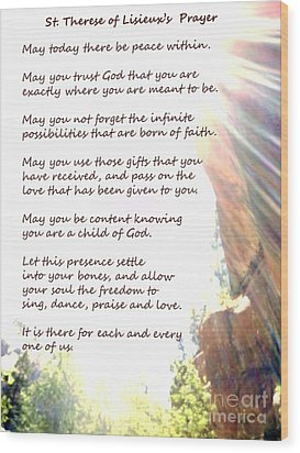 St Therese Of Lisieux Prayer And True Light Lower Emerald Pools Zion Wood Print