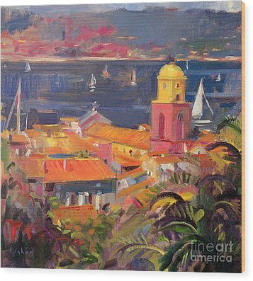 St Tropez Sailing Wood Print by Peter Graham