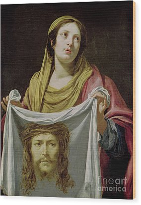 St. Veronica Holding The Holy Shroud Wood Print by Simon Vouet