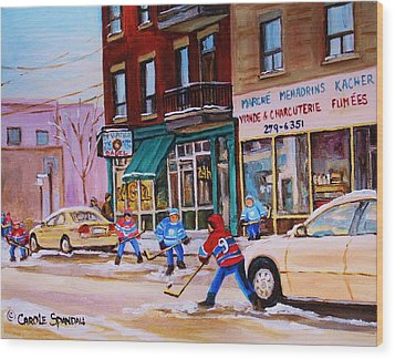Wood Print featuring the painting St. Viateur Bagel With Boys Playing Hockey by Carole Spandau